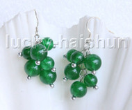 Genuine Dangle baroque round green jade earrings 925 silver hook j11372