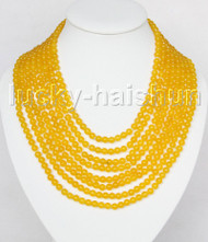 "AAA natural 8row 17"" 6mm round yellow jade bead necklace magnet clasp j11377"
