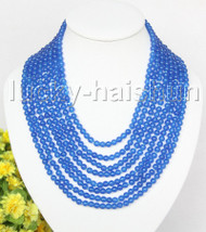 """AAA natural 8row 17"""" 6mm round blue jade bead necklace magnet clasp j11378"""