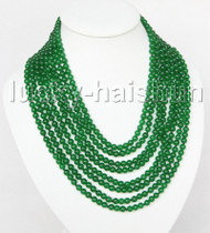 "AAA natural 8row 17"" 6mm round green jade bead necklace magnet clasp j11379"