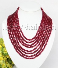 "AAA natural 8row 17"" 6mm round dark red bead necklace magnet clasp j11381"