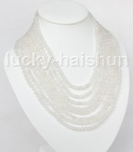 """AAA natural 8row 17"""" 6mm round white bead necklace magnet clasp j11382"""