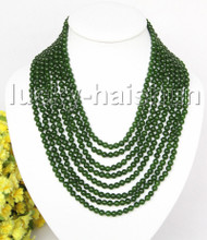"AAA natural 8row 17"" 6mm round dark green bead necklace magnet clasp j11385"