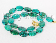 "Genuine 18"" 13X18mm oval green chrysocolla necklace j11391"