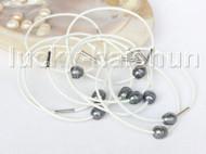 wholesale 10 piece 11mm black pearls white leather Bracelet j11403