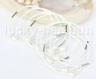 wholesale 10 piece 11mm white pearls white leather Bracelet j11405
