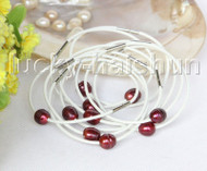 wholesale 10 piece 11mm wine red pearls white leather Bracelet j11407