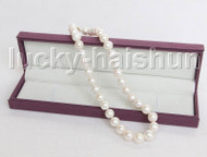 "natural shine luster 17"" 14mm round white pearls necklace 14K gold clasp j11431"