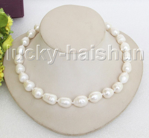 lustrous 3row 10mm round white pearl necklace blister 925sc clasp j3909