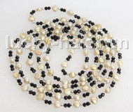 """Baroque 60"""" 8mm champagne freshwater pearls necklace j11445"""