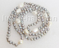 """Baroque 34"""" 8mm gray white freshwater pearls necklace j11450"""