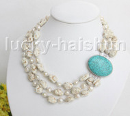 "17"" 3row Natural baroque white pearls white turquoise necklace turquoise clasp j11455"