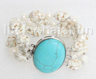 "8"" 3row Natural baroque white pearls white turquoise bracelet turquoise clasp j11456"