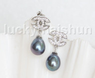 Drop Dangle Stud 10mm peacock black pearls Earrings Platinum Plated j11470