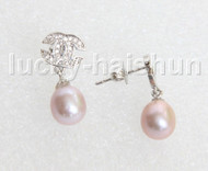 Drop Dangle Stud 10mm purple pearls Earrings Platinum Plated j11471