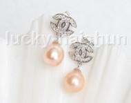Drop Dangle Stud 10mm pink pearls Earrings Platinum Plated j11473