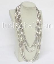 "length 104"" baroque gray white freshwater pearls necklace j11554"