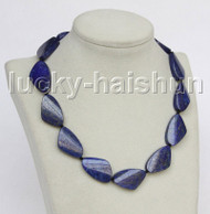 "Genuine 17"" 19X30mm triangle lapis lazuli necklace j11560"