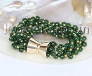 "Genuine 8"" 6mm 5row round dark green jade bead bracelet magnet clasp j11561"