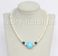 "17"" 20mm near round white freshwater pearls turquoise necklace j11562"