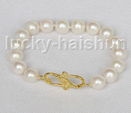 "8"" 11mm near round white freshwater pearls bracelet j11569"