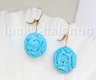 AAA natural Dangle 23X26mm Blue oval carved turquoise Earrings 14K gold j11573