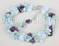 "adjustable 7.5""-10"" baroque moonstone amethyst jade bracelet j11642"