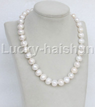 "natural 18"" 14mm near round white freshwater pearls necklace 18KGP j11648"