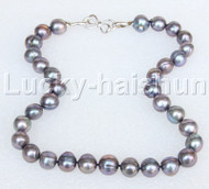 "natural 18"" 14mm near round black brown freshwater pearls necklace 18KGP j11649"