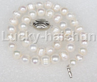 "natural 17"" 10mm near round white pearls necklace 18KGP j11655"
