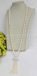 "natural length 30"" 10mm round white freshwater pearls necklace j11684"
