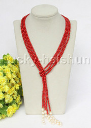 """Genuine length 52"""" 2pcs 4mm round red coral white pearls necklace j11693"""