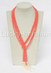 "Genuine length 52"" 2pcs 4mm round pink coral white pearls necklace j11694"