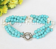 "Genuine 8"" 4row 6mm round blue turquoise white pearls bracelet j11697"