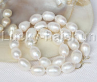 "Genuine huge 17.5"" baroque rice 15mm white pearls necklace 925 silver clasp j11709"