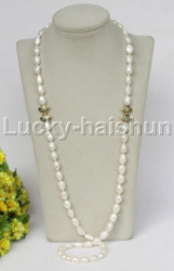 "natural length 35"" baroque 12mm white pearls cloisonne necklace j11710"