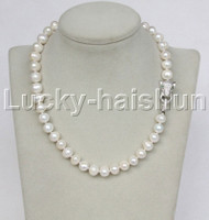 "natural 17"" 10mm near round white freshwater pearl necklace leopard clasp j11715"