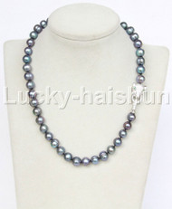 "natural 17"" 10mm near round black freshwater pearl necklace leopard clasp j11717"