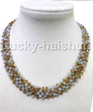 natural Hand knitting Collar Multicolor crystal necklace 18KGP clasp j11722