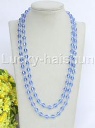 """Genuine 46"""" 8mm longer round carved light blue crystal necklace j11731"""