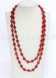 "46"" 10mm longer round carved red crystal necklace j11738"