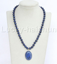 "natural 19"" 8mm round lapis lazuli pendant necklace j11740"