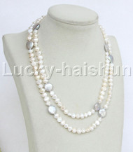 """Baroque 35"""" 8mm gray white freshwater pearls necklace j11743"""