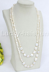 """Baroque 50"""" white freshwater pearls necklace filled gold clasp j11745"""