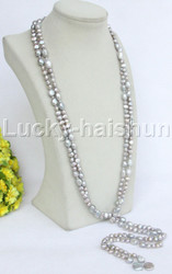 """Baroque 77"""" gray freshwater pearls necklace filled gold clasp j11746"""