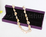 """AAA+ luster 17"""" 27mm pink Reborn keshi pearls necklace leopard clasp j11761"""