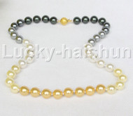 "Genuine 18"" 10mm round Multicolor south sea shell pearls necklace j11767"