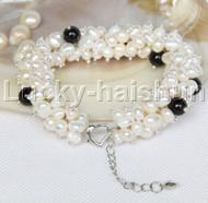 "stylish 8""-9"" Baroque white pearls black agate bracelet j11772"