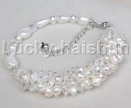 "stylish 8.5""-10.5"" Baroque white pearls white crystal bracelet j11774"