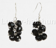 Genuine Grape baroque faceted black crystal dangle earrings 925ss hook j11786